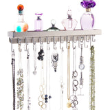 Necklace Holder Jewelry Organizer Wall Mount Closet Storage Rack Schelon Silver
