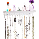 Necklace Holder Jewelry Organizer Wall Mount Closet Storage Rack Schelon White