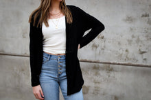 Load image into Gallery viewer, 580 Basic Button Down Cardi + Black