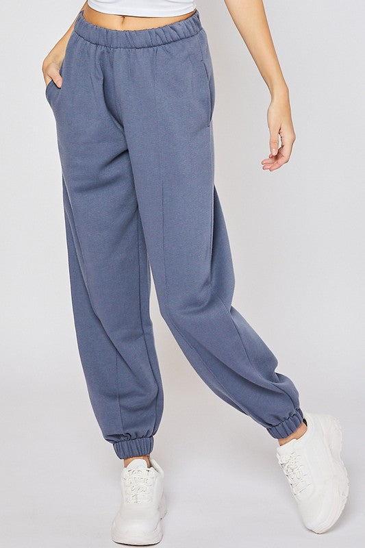 Fleece Pintuck Jogger + Blue