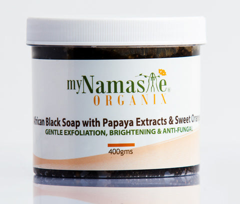 African Black Soap Body Wash With Papaya Seed Extract, Sweet Orange and Patchouli oil. Gentle exfoliation, gets rid of dead skin.