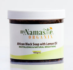 Exfoliating 100% African Black Soap Body Wash With Lemon oil ...Daily exfoliation, revitalizing and natural brightening - Namaste Organics