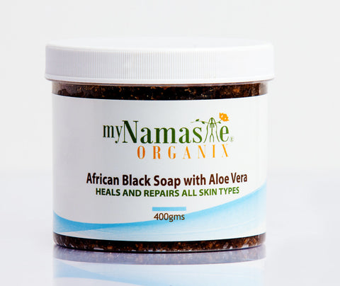 African Black soap with Pure Aloe Vera gel...Skin Repair Formula