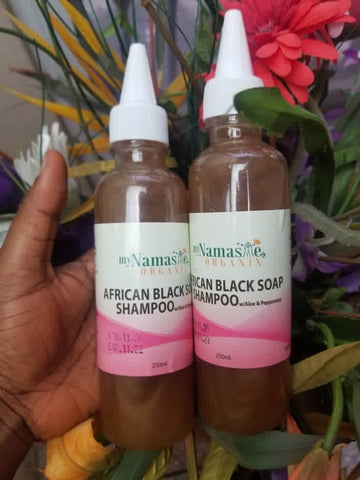 African Black Soap Conditioning Shampoo with Peppermint oil...Gentle clarifying and stimulates scalp for hair growth