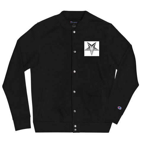 BLACK CULT SOCIETY Embroidered Champion Bomber Jacket