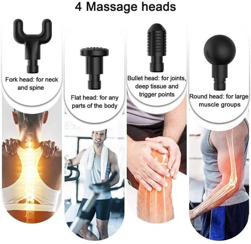 6 Speed 12V 2000mAh Handheld Therapy Vibration Gun High Frequency Percussion Electric Massager Muscle Relaxation with 4 Massage Heads
