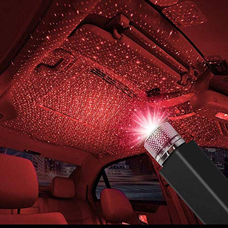Zep+ Roof Star Projector Lights, USB Portable Adjustable Flexible Interior Car Red Night Lamp Decorations with Romantic Galaxy Atmosphere fit Car, Ceiling, Bedroom, Party and More