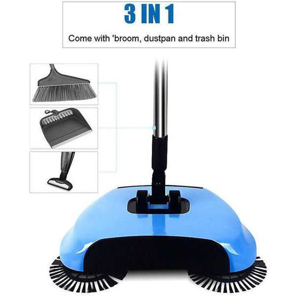 FLOOR CLEANER MOP™ 3 IN 1 HAND PUSH SWEEPER BROOM