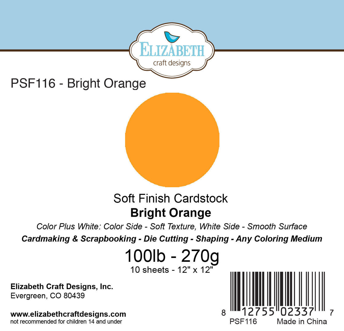 Soft Finish Cardstock, Bright Orange