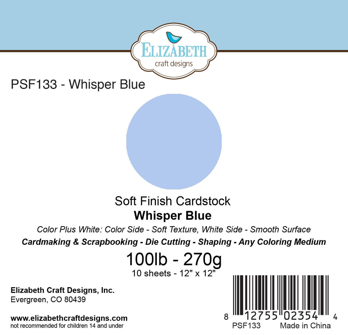 Soft Finish Cardstock, Whisper Blue