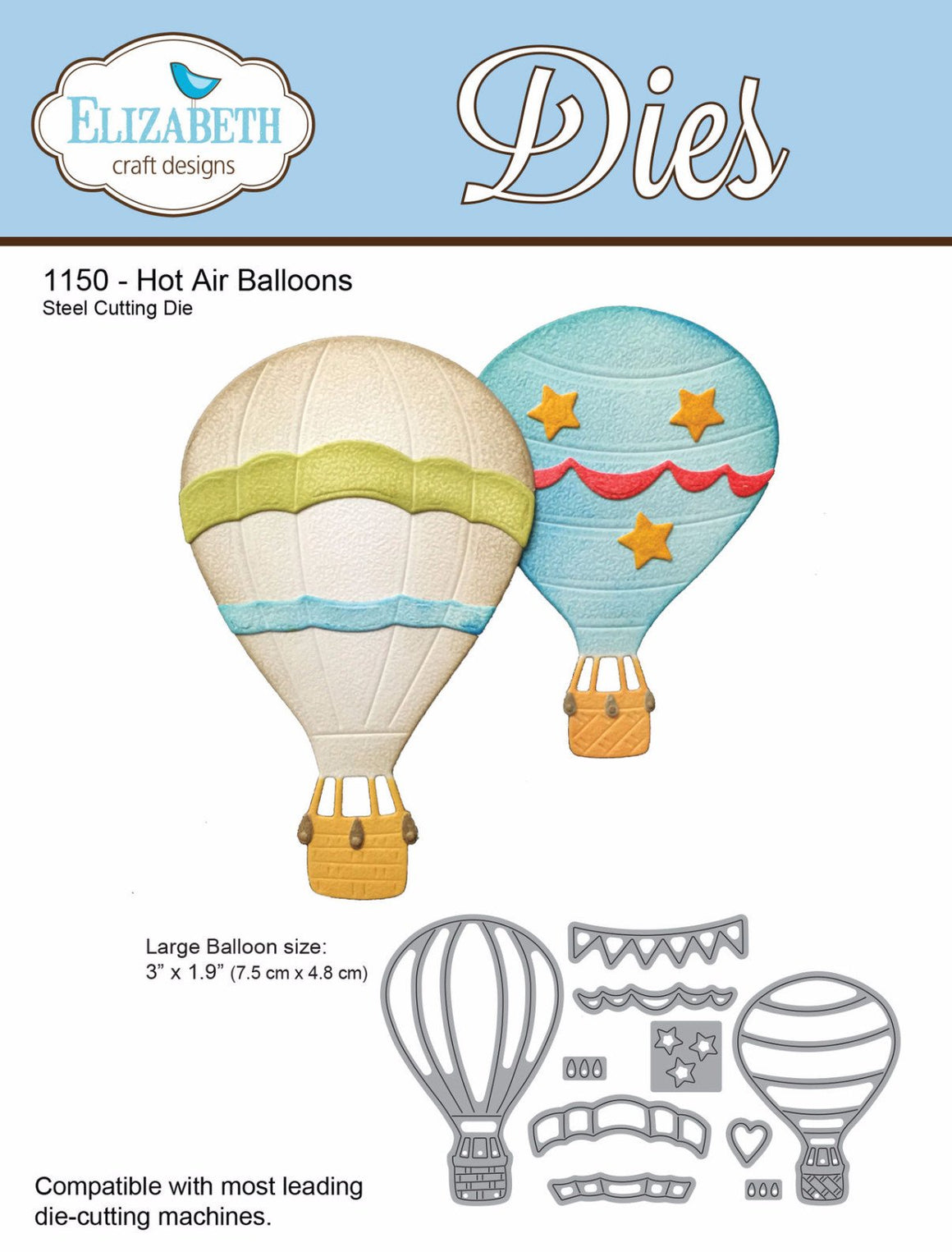 Hot Air Balloons - Die - ElizabethCraftDesigns.com