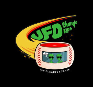 A 60/40 poly-cotton blended t-shirt with the CleanFuego UFO Change Ups design across the front.