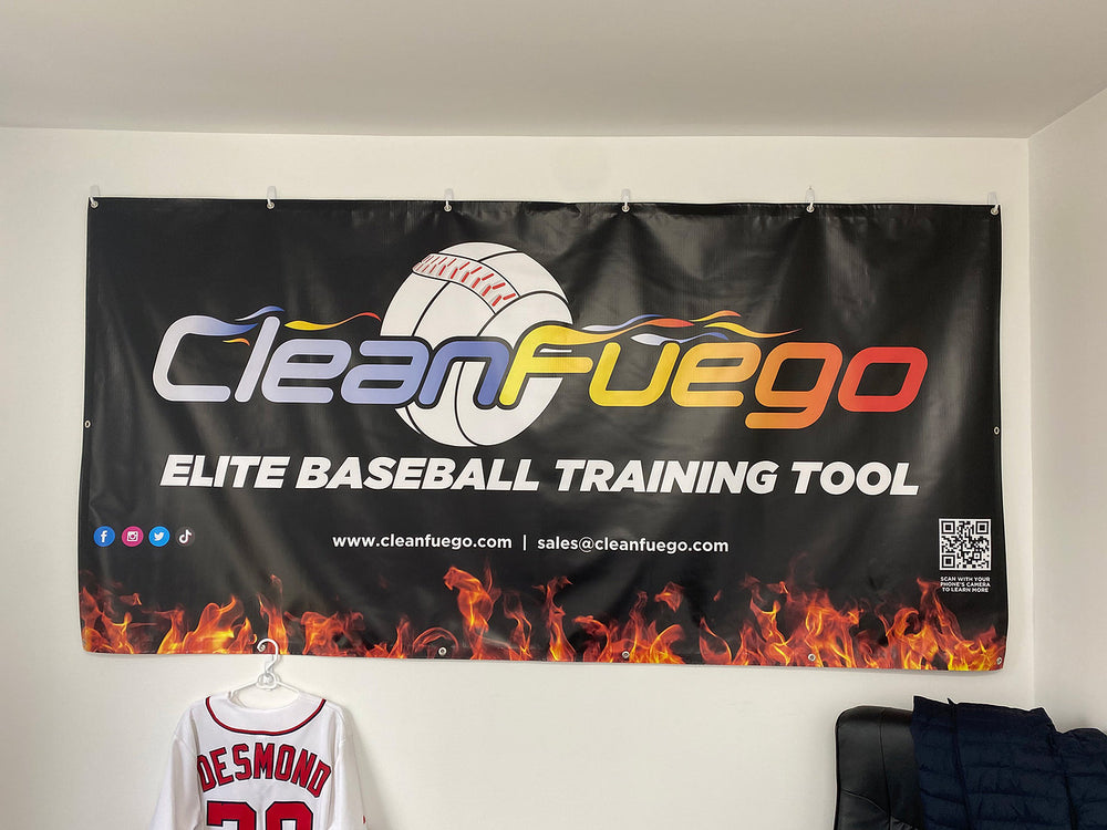 4' high by 7' long, nylon indoor/outdoor banner with CleanFuego Logo and Elite Baseball Training Tool displayed