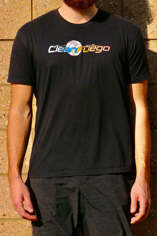 Black t-shirt with original CleanFuego logo across chest