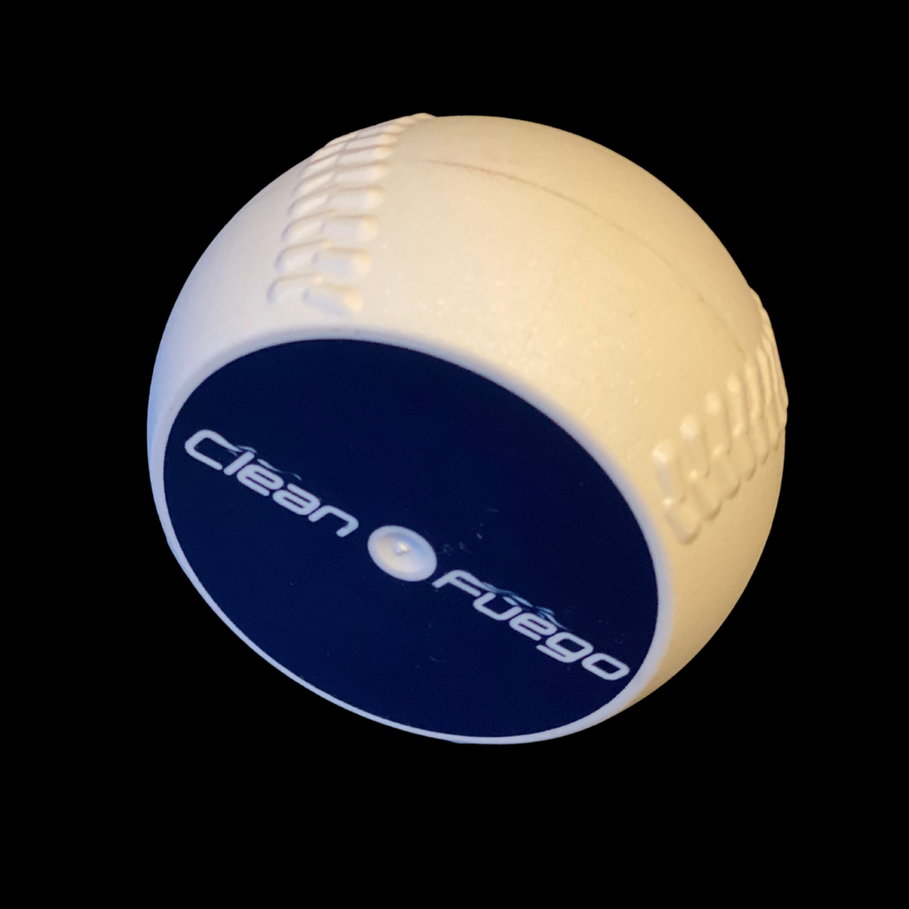 Overweight CleanFuego. Plastic baseball training tool that looks like a baseball puck
