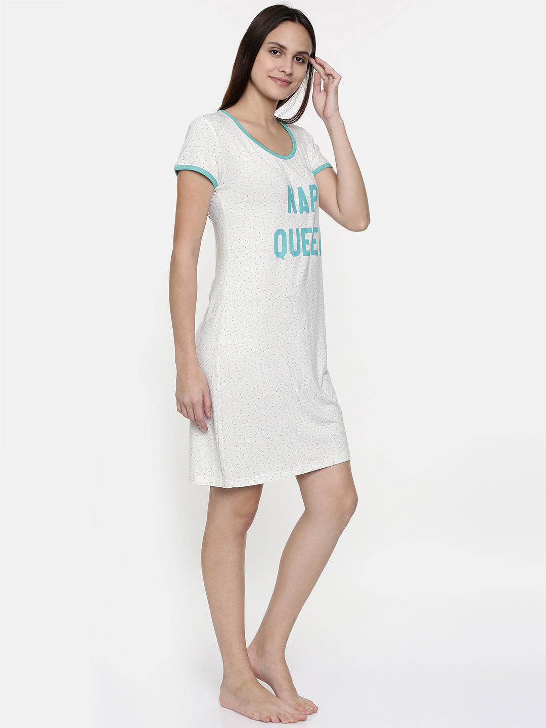 C842-White Printed Nightdress