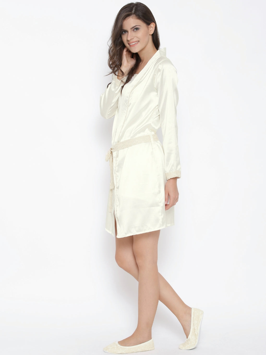 L127-Babydoll Nightdress with Robe & Slip ons
