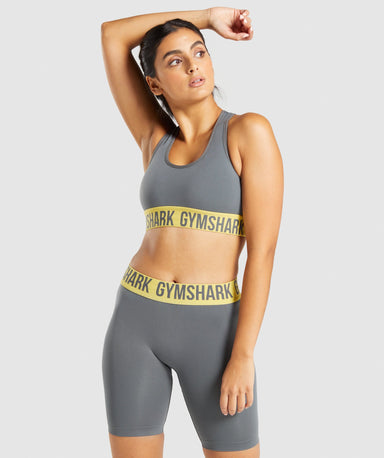 Classier: Buy Gymshark Fit Seamless Sports Bra - Charcoal/Yellow - Gymshark