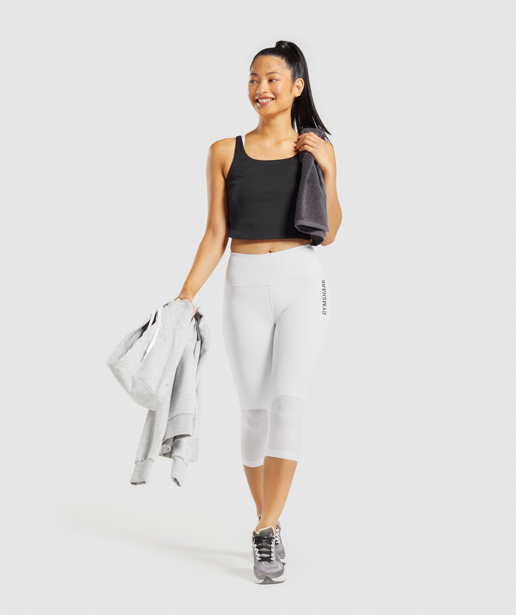Classier: Buy Gymshark Pulse Cropped Leggings - White - Gymshark