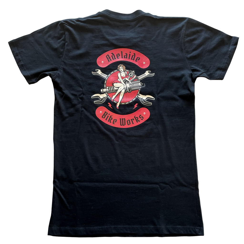 Adelaide Bike Works Black Pin Up Tee