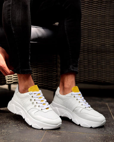 White & Yellow Detailed Trainers
