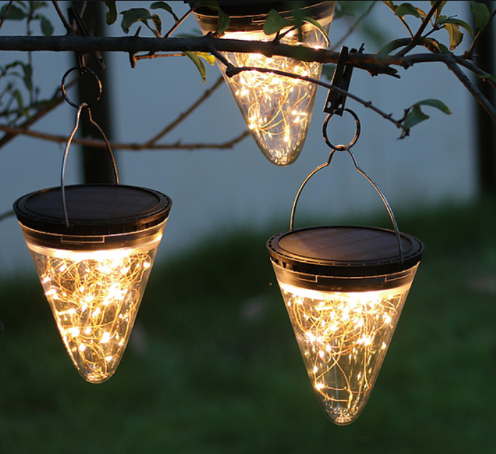 Hanging Outdoor Solar Cone Light