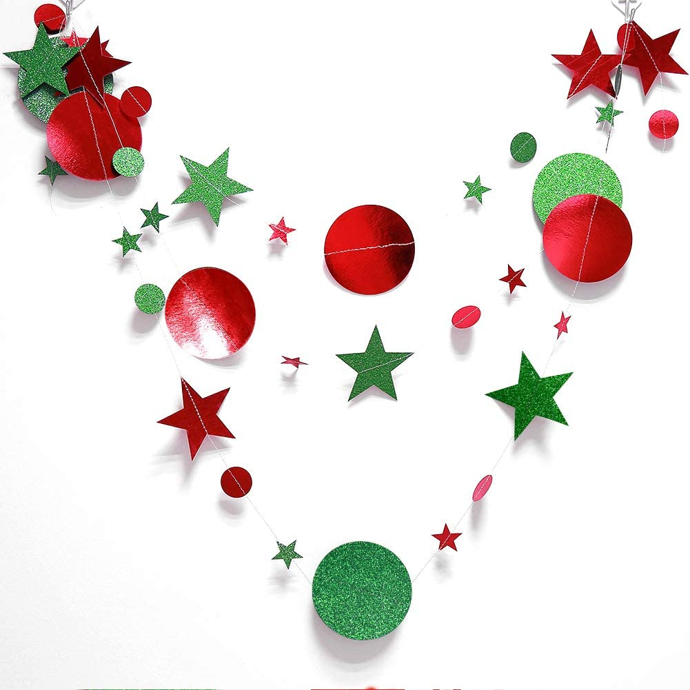 Green and Red Circle Dots and Stars Garland Kit for Xmas Party Hanging