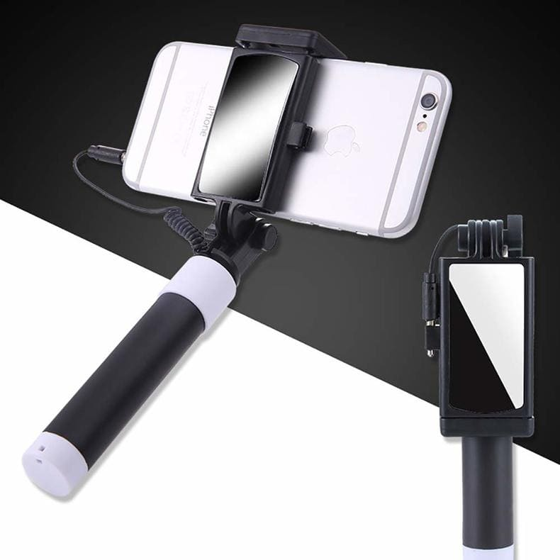 Button Wired Silicone Handle Monopod Mini Selfie Stick