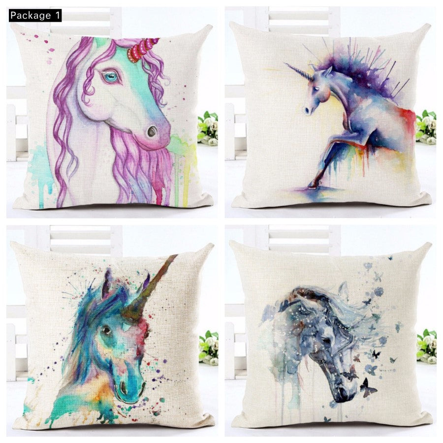 Unicorn Cusion Pillow Case Cover-set of 4