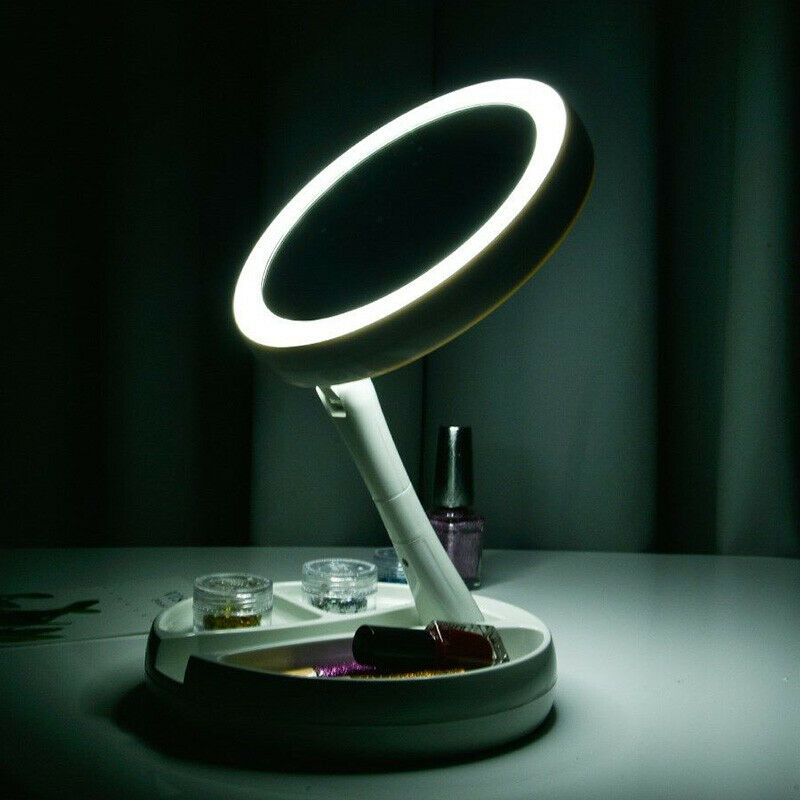 Portable LED Light Round Make Up Mirror