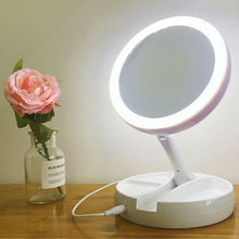 Load image into Gallery viewer, Portable LED Light Round Make Up Mirror