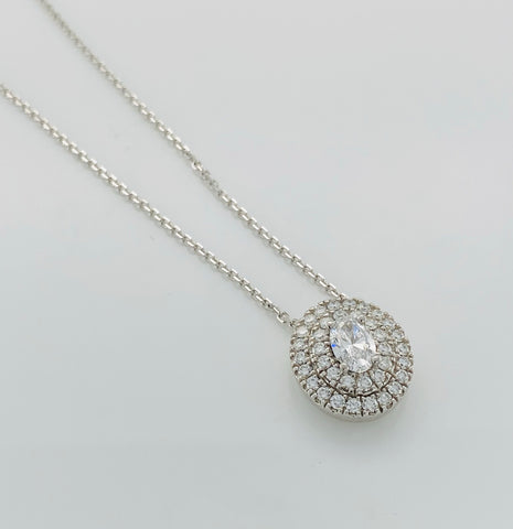 18ct White Gold Oval Diamond Halo Pendant