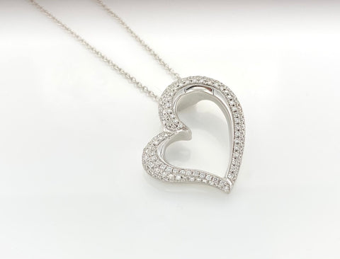 18ct White Gold Diamonds set Heart Pendant