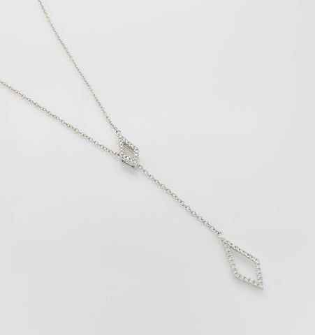 18ct White Gold Drop Diamonds Set Dress Pendant