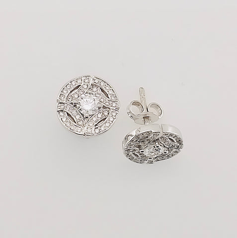 18ct White Gold Handmade Diamond Earrings