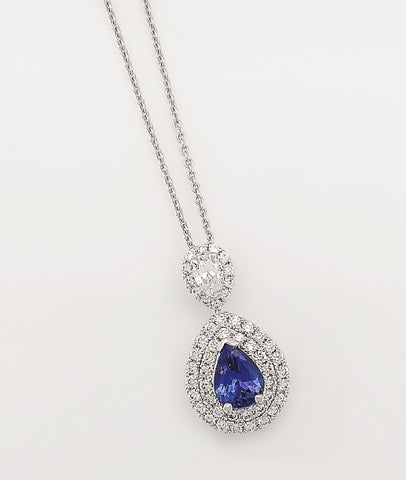 18ct White Gold Tanzanite and Diamonds set Pendant