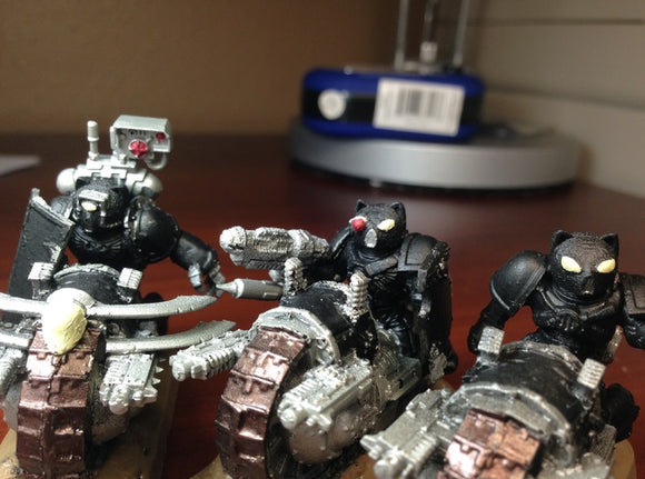 28mm scale Cat Helmets on Sprue 3d printed Base-coated helmets glued to biker models, not quite done yet :)