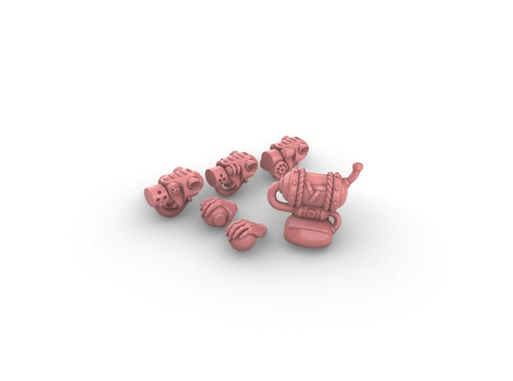 Warhammer Skaven Acolyte Heads Hands Backpacks x10 3d printed Head styles, hands, and backpack shown in pink for contrast