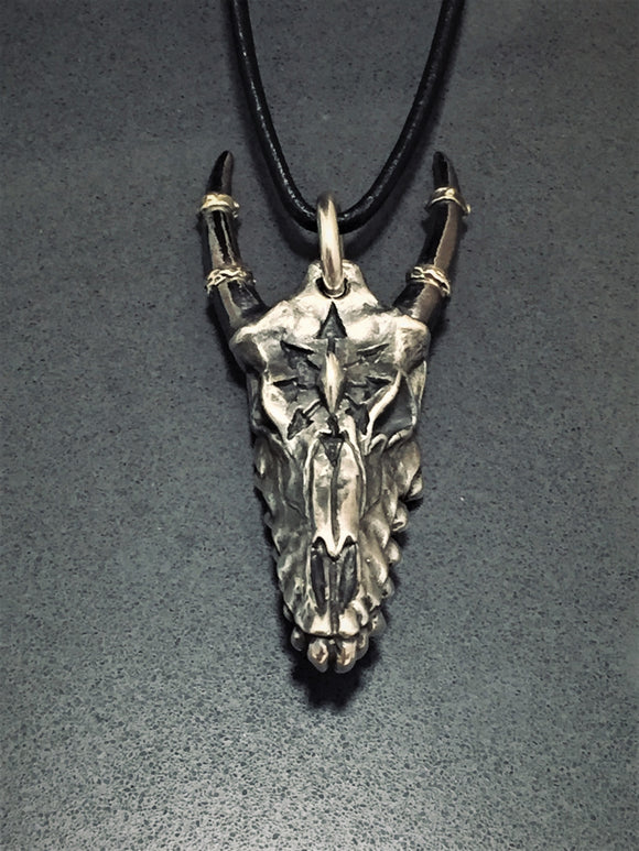 CarvedMetal Bronze or Sterling Silver Horned Beast Skull Pendant Heavy Metal Neckwear