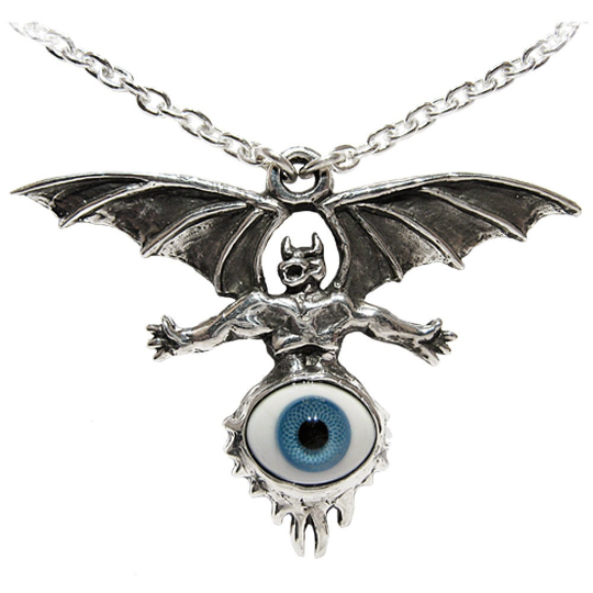 The Eye King Diamond Silver Glass and Stainless Steel Heavy Metal Neckwear
