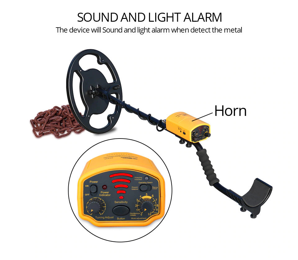 Sound and light alarm, the device will sound and light alarm when detect the metal