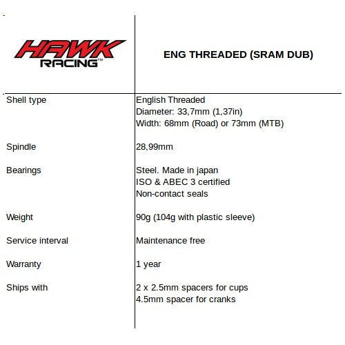 English Threaded for Sram DUB
