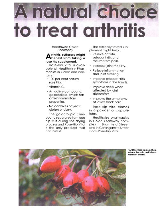 The Colac Herald recommends Rose-Hip Vital as the natural choice to treat arthritis (April, 2012)