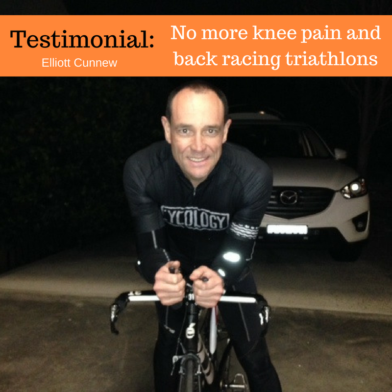 Testimonial:  No more knee pain and back racing triathlons