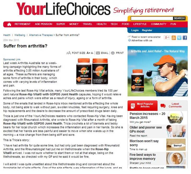 National Arthritis Week- Your Life Choices (March 2015)