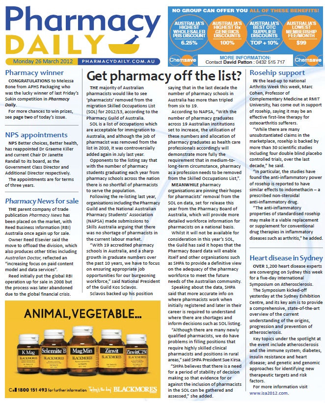 Rosehips: Effective first-line therapy for osteoarthritis- Pharmacy Daily (26 March, 2012)