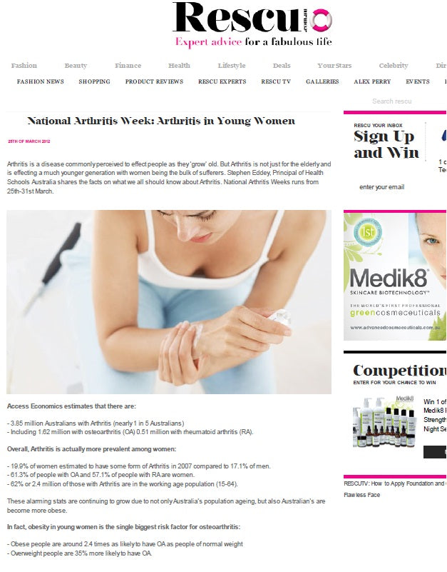 Prevalence of arthritis in young women is rising- Rescu (March 2012)