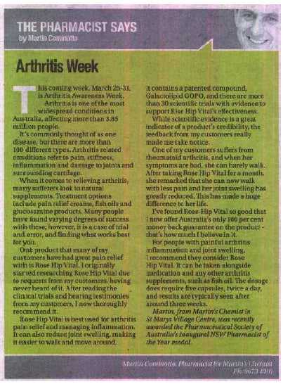 The answer to arthritis pain relief- Western Weekender Penrith (23 March, 2012)