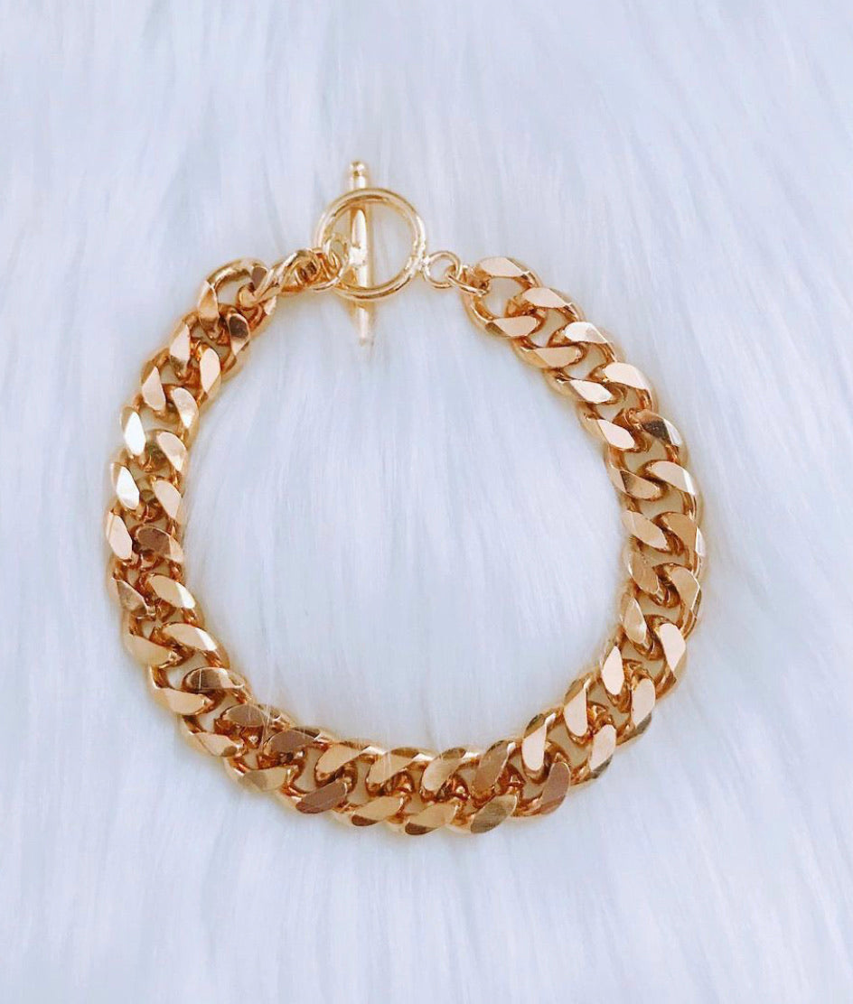 18k Gold-Filled Cuban Chain Bracelet
