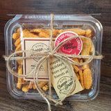 CUSTOM TAG Pound Container of Cheese Straws for Gifting-6 pack